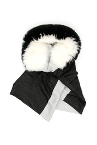 BICOLOR SCARF WITH FUR