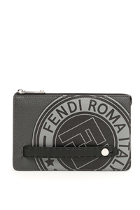 ROMAN LEATHER LOGO CLUTCH