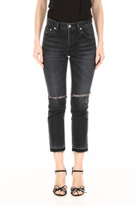 JEANS WITH TORN KNEES