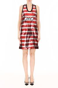 STRIPED SEQUINS DRESS WITH LOGO