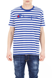 STRIPED T-SHIRT WITH LARGE LOGO