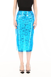 LACE AND PVC PENCIL SKIRT
