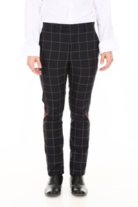 CHECK TROUSERS WITH SIDE BAND