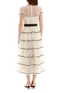 LONG PLUMETIS DRESS WITH SEQUINS