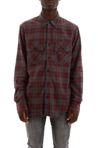 CAMICIA TARTAN PATCH LOGO IN PELLE