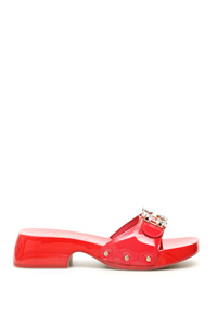 MULES VIV CLOGS LACQUERED 45 CRYSTAL BROCHE