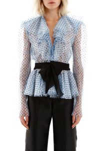BLUSA IN PIZZO CON POIS