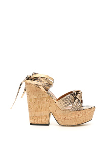 SANDALI KNOTTED WEDGE STAMPA PITONE
