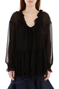 BLUSA OVERSIZE CON ROUCHES