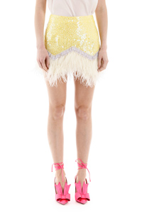 SKIRT MINI PAILLETTES AND FEATHERS