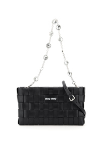 WOVEN CLUTCH WITH CRYSTAL CHAIN