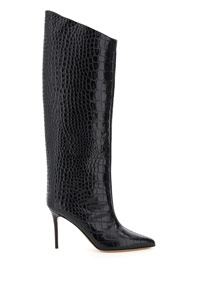 ALEX 90 CROC EMBOSSED LEATHER BOOTS