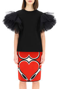 TOP IN JERSEY E TULLE