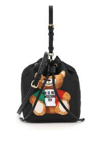 MINI BUCKET BAG WITH ITALIAN TEDDY BEAR PRINT