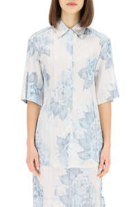 FLORAL PLEATED SATIN SHIRT